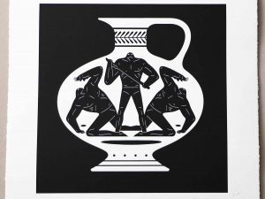 Lot #9499A – Cleon Peterson End Of Empire Aryballos Screen Print White LTD ED 150 Art Cleon Peterson