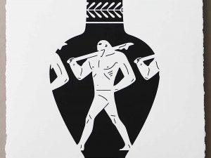 Lot #9553 – Cleon Peterson End Of Empire Lekythos Screen Print White LTD ED 150 Art Cleon Peterson