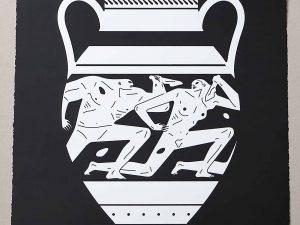 Lot #9563 – Cleon Peterson End Of Empire Amphora Screen Print Black LTD ED 150 Art Cleon Peterson