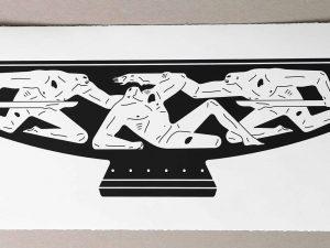 Lot #9564 – Cleon Peterson End Of Empire Kylix Screen Print White LTD ED 150 Art Cleon Peterson