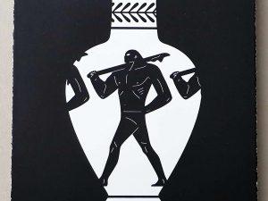 Lot #9565 – Cleon Peterson End Of Empire Lekythos Screen Print Black LTD ED 150 Art Cleon Peterson
