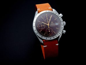 Lot #10950 – Omega 3511.61 Speedmaster Date Watch Oxblood Dial Rare Unusual 3511.61 Chronograph