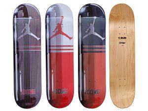 Lot #11184A – Denial Air Jordan Skateboards 3 Deck Set Denial Denial Skateboards